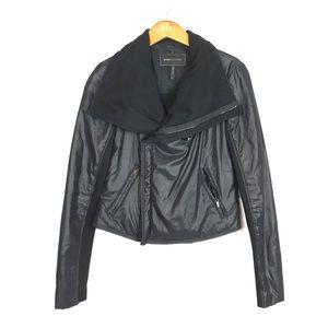 BCBGMAXARIA Asymmetrical Nylon Moto Jacket